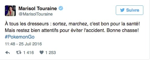 Pokemon Go et sante Marisol Touraine